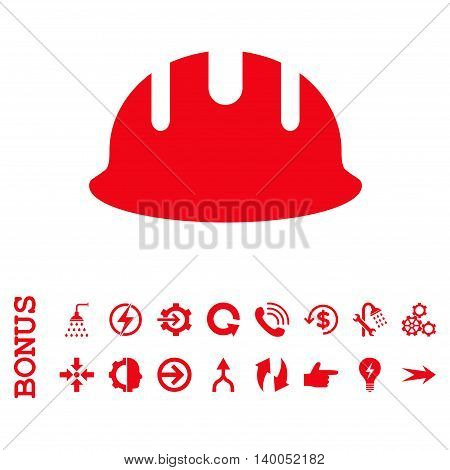 Builder Hardhat vector icon. Image style is a flat pictogram symbol, red color, white background.