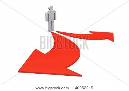 3D illustration of Business standing with left and right destination choice on white background.