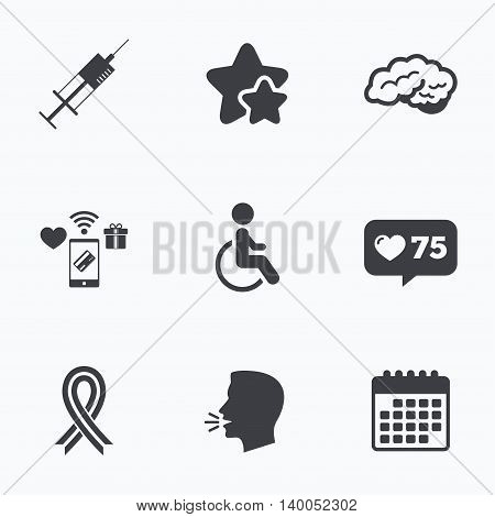 Medicine icons. Syringe, disabled, brain and ribbon signs. Breast cancer awareness symbol. Handicapped invalid. Flat talking head, calendar icons. Stars, like counter icons. Vector