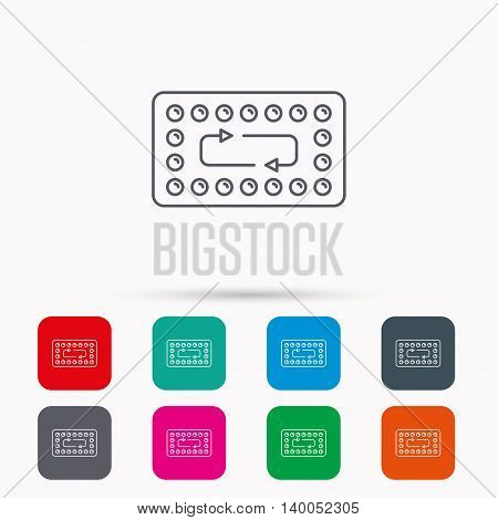 Contraception pills icon. Pharmacology drugs sign. Linear icons in squares on white background. Flat web symbols. Vector