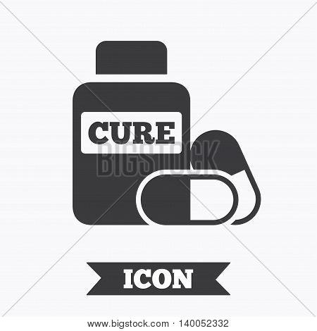 Medical pills bottle sign icon. Pharmacy medicine drugs symbol. Graphic design element. Flat medical pills symbol on white background. Vector