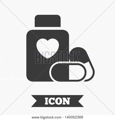 Medical heart pills bottle sign icon. Pharmacy medicine drugs symbol. Graphic design element. Flat medical pills symbol on white background. Vector
