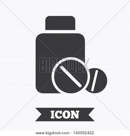 Medical tablets bottle sign icon. Pharmacy medicine drugs symbol. Graphic design element. Flat medical tablets symbol on white background. Vector