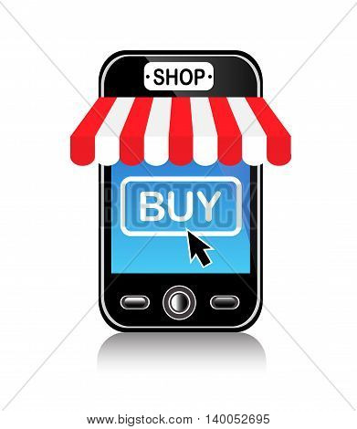 shiny cell phone with the cursor and click buy on the screen
