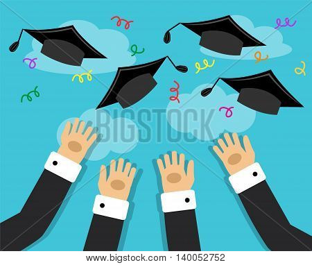 graduates hands thrown in the air Alumni Hats