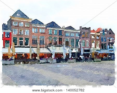 Digital watercolor painting of a row of houses in the center of Delft in the Netherlands. With space for text
