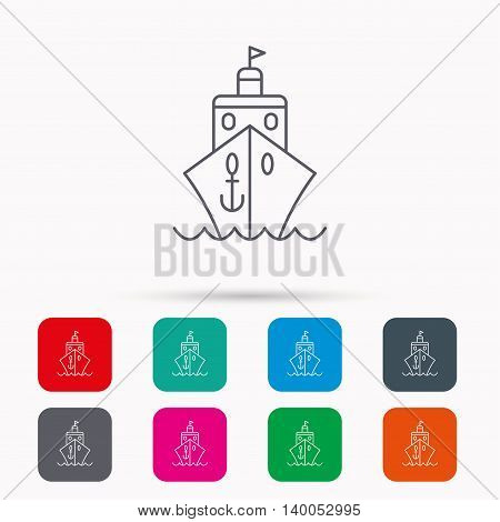 Cruise icon. Ship travel sign. Shipping delivery symbol. Linear icons in squares on white background. Flat web symbols. Vector