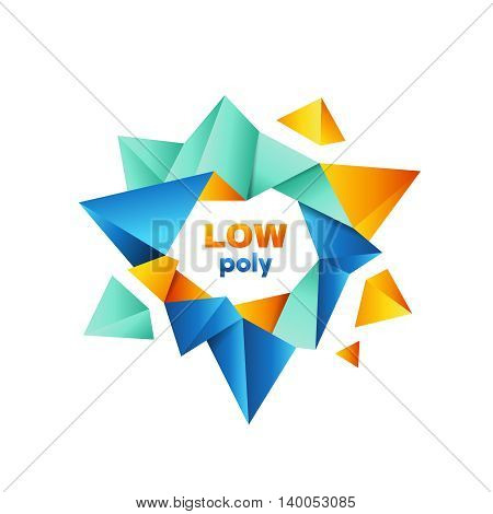 Colorful polygonal crystal geometric logo vector design concept isolated on white background. Modern icon in blue and orange colors for corporate identity of technological company