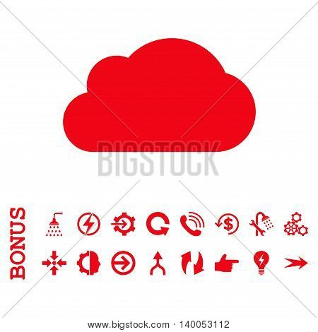 Cloud vector icon. Image style is a flat iconic symbol, red color, white background.