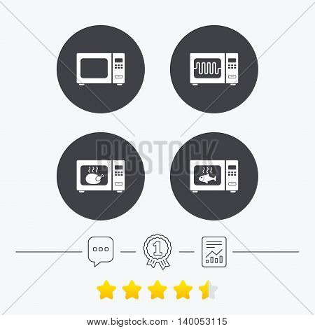 Microwave oven icons. Cook in electric stove symbols. Grill chicken and fish signs. Chat, award medal and report linear icons. Star vote ranking. Vector