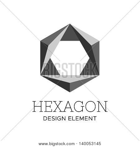 Flat style gray color polygonal hexagon geometric logo vector design concept isolated on white background. Modern icon for corporate identity of construction or technological company