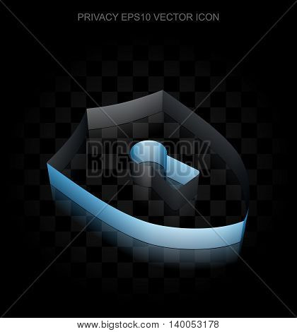 Safety icon: Blue 3d Shield With Keyhole made of paper tape on black background, transparent shadow, EPS 10 vector illustration.
