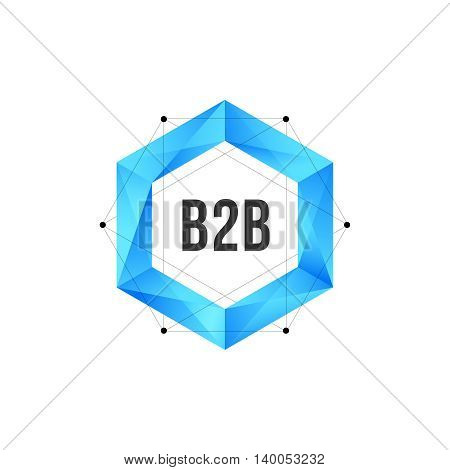 Blue polygonal hexagon with mesh and dots. Geometric logo vector design concept isolated on white background. Modern icon for corporate identity of B2B business marketing or techological company