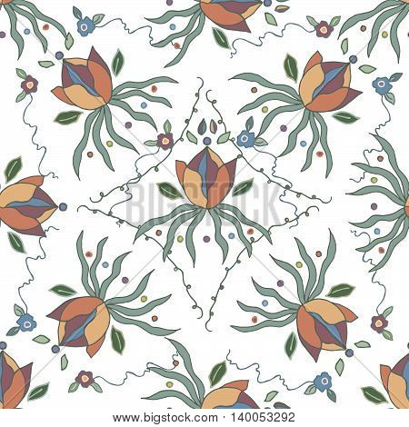 Colorful seamless pattern with water lily, curly lines, flowers. Hand drawn graphics, vector eps 10. For prints, designs, fabric.