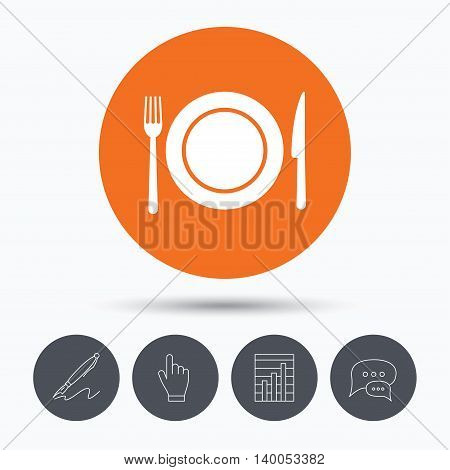 Dish, fork and knife icons. Cutlery symbol. Speech bubbles. Pen, hand click and chart. Orange circle button with icon. Vector