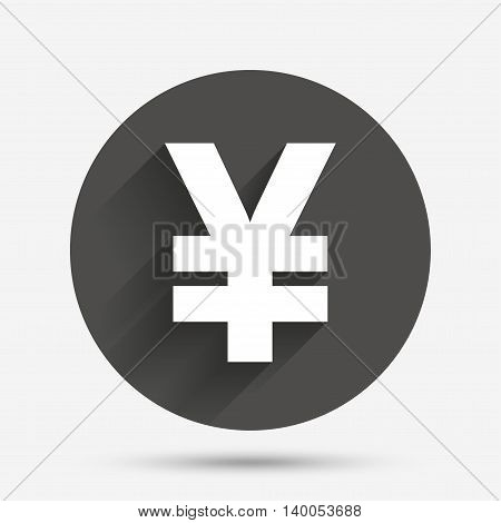 Yen sign icon. JPY currency symbol. Money label. Circle flat button with shadow. Vector