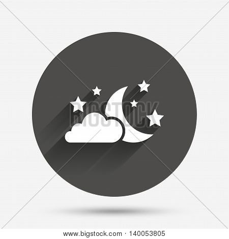 Moon, clouds and stars icon. Sleep dreams symbol. Night or bed time sign. Circle flat button with shadow. Vector