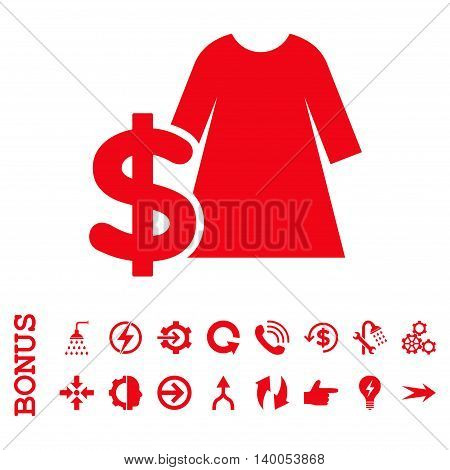 Dress Price vector icon. Image style is a flat iconic symbol, red color, white background.