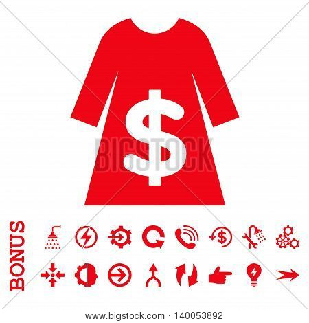 Dress Sale vector icon. Image style is a flat pictogram symbol, red color, white background.