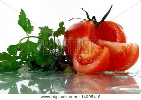 Vegetables with reflection and water drops