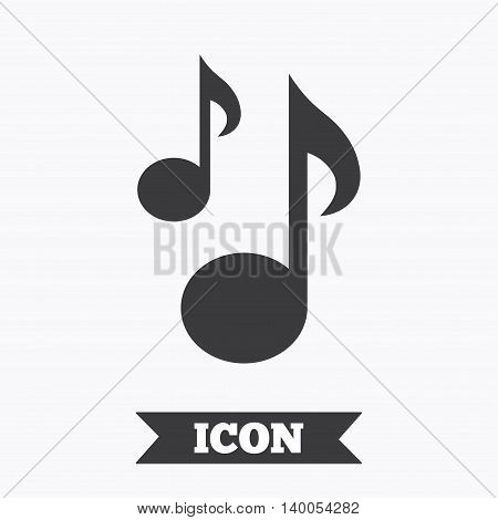 Music notes sign icon. Musical symbol. Graphic design element. Flat musical note symbol on white background. Vector