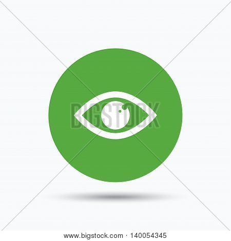 Eye icon. Eyeball vision symbol. Flat web button with icon on white background. Green round pressbutton with shadow. Vector