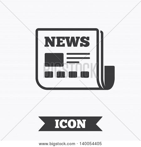 News icon. Newspaper sign. Mass media symbol. Graphic design element. Flat newspaper symbol on white background. Vector