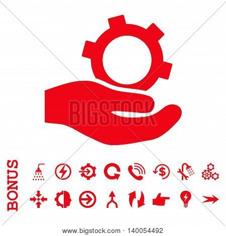 Engineering Service vector icon. Image style is a flat pictogram symbol, red color, white background.