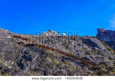 Ranau,Sabah-March 13,2016:Wooden stairs up to summit of mountain Kinabalu.The new Mount Kinabalu Summit Trail,Ranau trail was officially opened to climbers from all over the world on 1st Dec 2015.