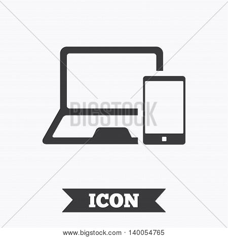 Mobile devices sign icon. Notebook with smartphone symbol. Graphic design element. Flat mobile devices symbol on white background. Vector
