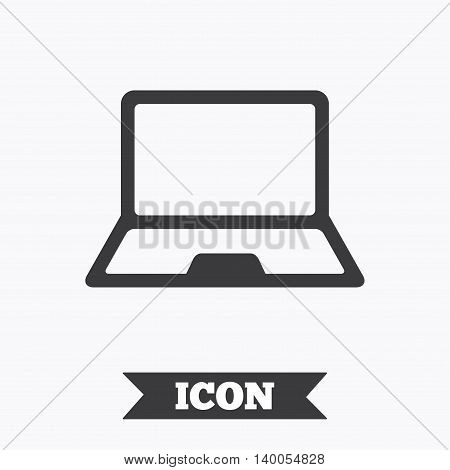 Laptop sign icon. Notebook pc symbol. Graphic design element. Flat notebook symbol on white background. Vector