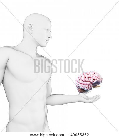 3d rendered illustration of a man holding a brain