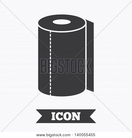 Paper towel sign icon. Kitchen roll symbol. Graphic design element. Flat paper towel symbol on white background. Vector