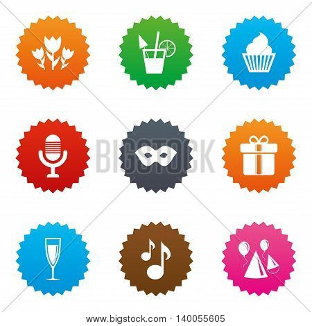 Party celebration, birthday icons. Cocktail, air balloon and champagne glass signs. Gift box, flowers and carnival symbols. Stars label button with flat icons. Vector