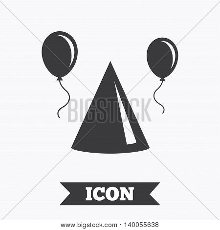 Party hat sign icon. Birthday celebration symbol. Air balloon with rope. Graphic design element. Flat party hat symbol on white background. Vector