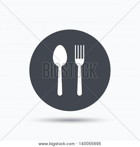 Food icons. Fork and spoon signs. Cutlery symbol. Flat web button with icon on white background. Gray round pressbutton with shadow. Vector