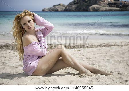 Sexy beautiful blond long hair in bikini, beaches Mallorca Spain