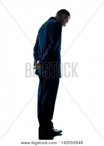 business man standing sadness silhouette isolated