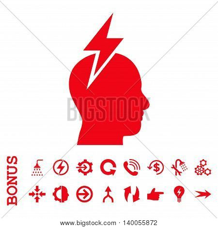 Headache vector icon. Image style is a flat iconic symbol, red color, white background.