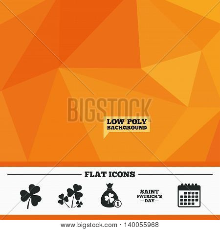 Triangular low poly orange background. Saint Patrick day icons. Money bag with clover and coin sign. Trefoil shamrock clover. Symbol of good luck. Calendar flat icon. Vector