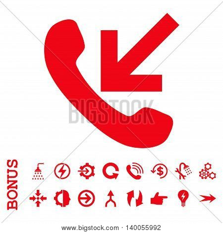 Incoming Call vector icon. Image style is a flat pictogram symbol, red color, white background.