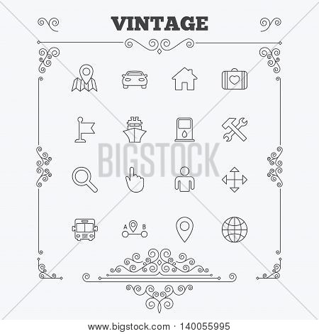 GPS navigation icons. Car, Bus and Ship transport. You are here, map pointer symbols. Search gas or petrol stations, hotels. A to B distance. Vintage ornament patterns. Decoration design elements. Vector