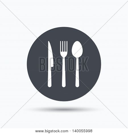 Fork, knife and spoon icons. Cutlery symbol. Flat web button with icon on white background. Gray round pressbutton with shadow. Vector
