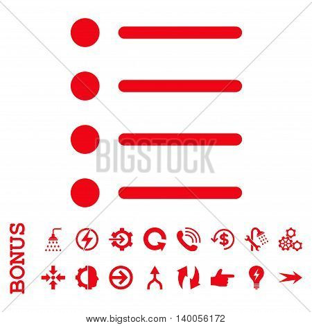Items vector icon. Image style is a flat pictogram symbol, red color, white background.