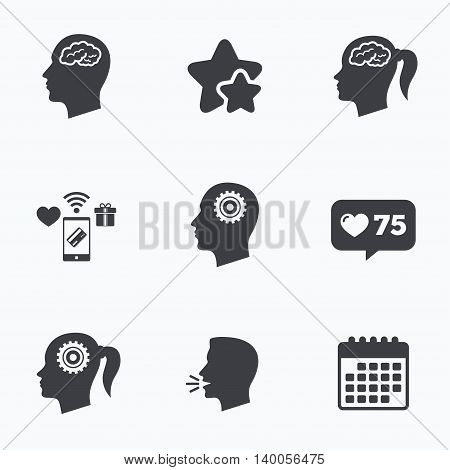 Head with brain icon. Male and female human think symbols. Cogwheel gears signs. Woman with pigtail. Flat talking head, calendar icons. Stars, like counter icons. Vector