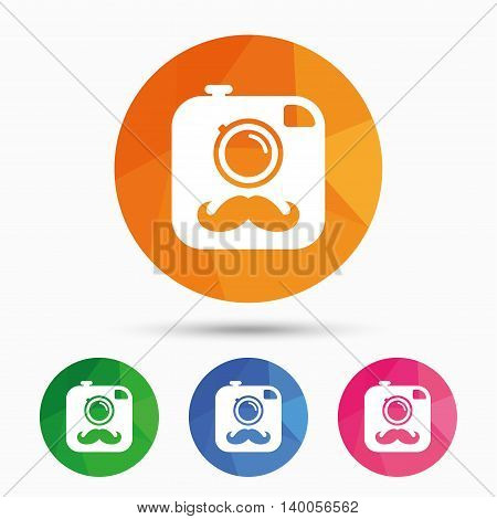 Hipster photo camera with mustache sign icon. Retro camera symbol. Triangular low poly button with flat icon. Vector