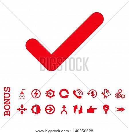 Ok vector icon. Image style is a flat pictogram symbol, red color, white background.