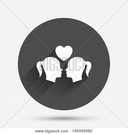 Lesbian couple sign icon. Woman love woman. Romantic homosexual relationships with heart. Circle flat button with shadow. Vector