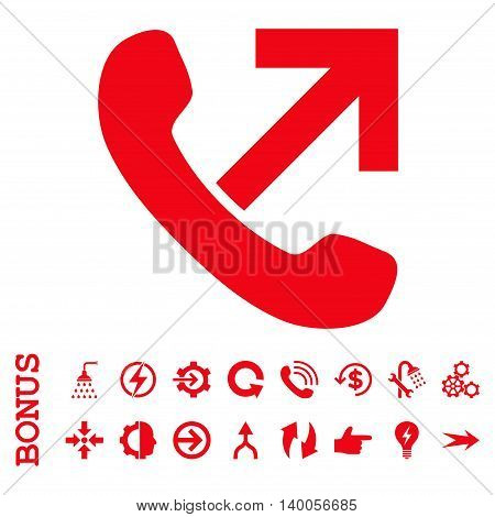 Outgoing Call vector icon. Image style is a flat pictogram symbol, red color, white background.