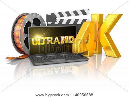 4K Laptop And Film Strip